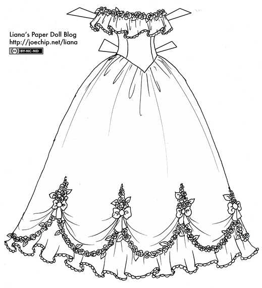 Easy Wedding Dress Coloring Pages #5157 Wedding Dress Coloring ... | 571x519