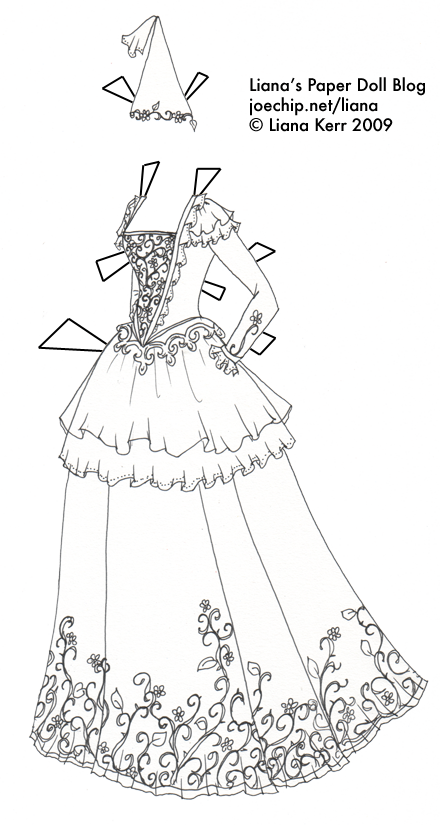 princess gown coloring pages - photo#29