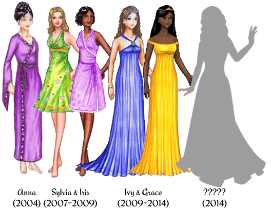 Six paperdolls. From left to right: Anna, 2004, a white female doll with black hair in an elaborate updo. She is wearing a purple robe. Sylvia, 2007-2009, a white female doll with brownish-blonde hair worn loosely around her shoulders. She is wearing a green dress with a flower and ladybug pattern. Iris, 2007-2009, a black female doll with chin-length, curly black hair. She is wearing a purple wrap dress trimmed with white lace. Ivy, 2009-2014, a white female doll with long, wavy brown hair worn down. She is wearing a blue gown and a tiara. Grace, 2009-2014, a black female doll with long, straight black hair worn down. She is wearing a yellow gown and a tiara. An unnamed doll, 2014. She is shown in silhouette.