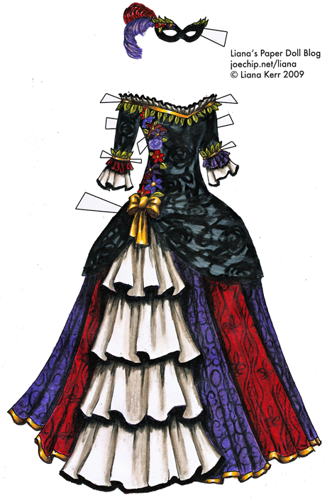 Colored Masquerade Gown In Black White Purple Red And Gold