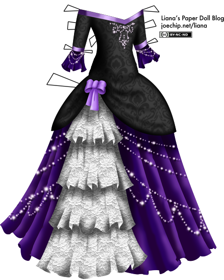 Masquerade Gown with Black Velvet Bodice, White Lace, Purple Skirt ...