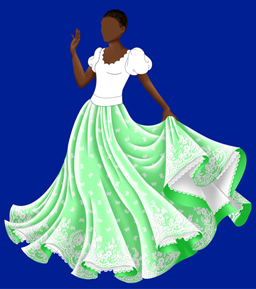 A adult princess doll with brown skin and close-cropped black hair. She's unfinished, and she has no face and a black and white bodice. The skirt is the only part that looks finished, and it's large and flowing, reaching to the floor. It's light green, and has a white, lace-edged petticoat. There is a white lace overlay over the green skirt, with a small butterfly pattern and a swirling lace pattern near the hem.