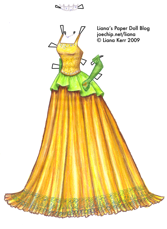Wiki Dress #2: Gold Harvest Gown with Green Peplum and Celtic ...