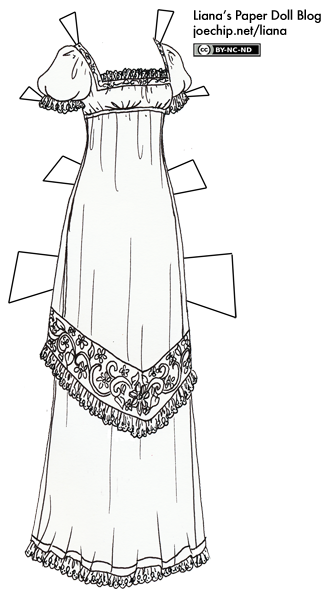 black and white regency gown for coloring