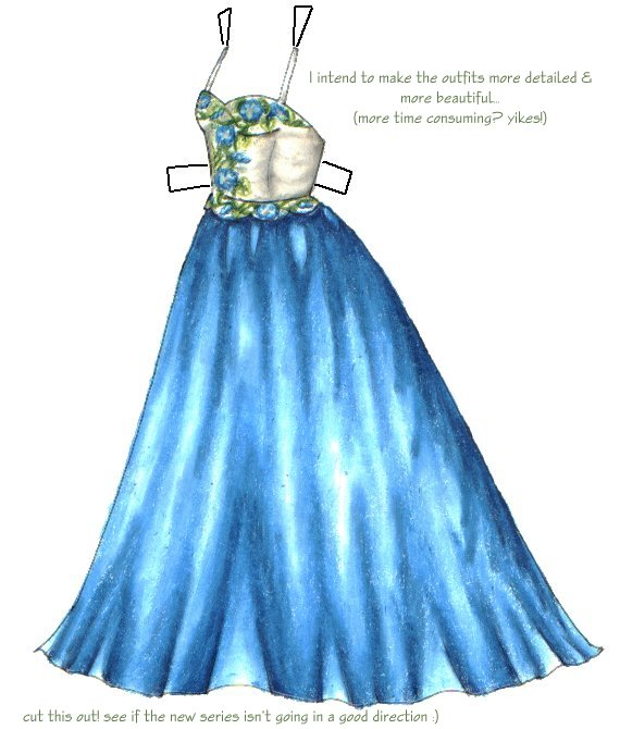 blonde paperdoll with blue morning glory ballgown circa 2000 liana 39 s paper dolls. Black Bedroom Furniture Sets. Home Design Ideas