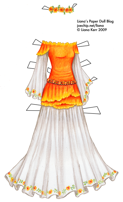 Birthday Dress For October In Orange And White With