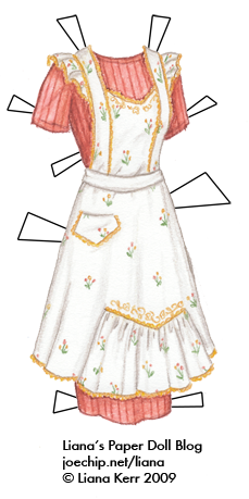 1944 White Apron With Yellow Trim And Pink And Yellow