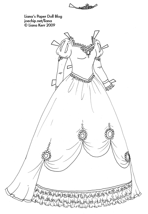 Black and White Princess Gown for Coloring | Liana's Paper ...