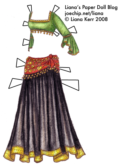 Tribal Belly Dance Costume with Green Gold-Trimmed Choli, Red and ...