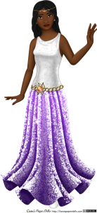An adult female paper doll in a white and purple gown. She has dark brown skin and black hair arranged in several small box braids that curve gently around her face and fall past her shoulders. Her eyes are brown with tiny gold flecks, and she has sparkly gold eyeshadow. Her lips are full and deep red, and she is wearing pearl earrings. She is wearing a sleeveless dress with a scoop neck, slightly gathered at the shoulders. The top is white satin, decorated with a pattern of light grey spirals. Around her hips is a belt made of gold, with a sunburst pattern in the middle. Set in the middle of the belt is a brilliant topaz rounded with pearls. The skirt is long and trumpet shaped, flaring out at the calves, and is light magenta at the top and deep purple at the base. It is covered all over with sequins. She also wears a gold circlet decorated with pearls and a second topaz.