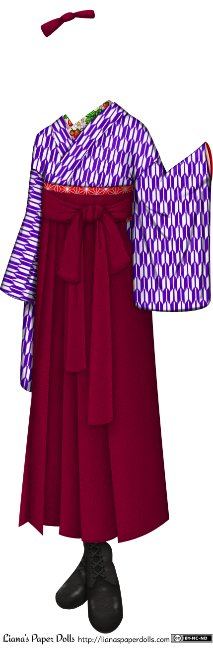 A kimono and hakama set with black leather boots. The kimono is white with a small geometrical design of purple arrowheads, and the inner collar is pink with strawberries, strawberry leaves and strawberry flowers embroidered on it. The obi is red with white asanoha, or geometrical star patterns on it, and it is mostly covered by the ties of the hakama. The hakama are a pair of reddish-purple pants with very wide legs, pleated at the front so that they look more like a skirt. It is worn slightly above the waist, and ties in the front. The bow droops down, and the ends of the ties extend towards the knees. There is a reddish-purple hairbow to go with the ensemble.