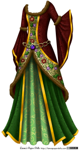 A gown with a red overdress and green underskirts. The overdress has a scoop neck trimmed with brown fur, and it has sleeves that are fitted to the elbow, trimmed at the elbow with brown fur, then fan out in a wide bell shape, with the edge of the sleeve very long at the wrist. At the edge of the sleeve is a stripe of golden ribbon patterned with scrolls. The red fabric is a shiny brocade with a pattern of oak leaves, scrolls and roses. Down the front of the dress is a stripe of embroidery over an ivory base. The embroidery shows red roses, purple violets, green oak leaves and scrolls, and the flowers are trimmed with small pearls. The embroidery is bordered with stripes of golden ribbon patterned with scrolls. The front of the overdress is split and open at the waist, curving down and ending at the knees with the front of the underskirts entirely visible. The hem of the overdress is trimmed with brown fur. There is a wide golden belt in a pattern of large, overlapping loops that falls at the hips. Set in the front of the belt is a large, smooth purple gemstone. The underskirts, which fall to the floor, are in two layers. One layer is a bright grass green in a shiny brocade patterned with oak leaves, scrolls and roses. It is open at the front and split, showing the second underskirt underneath. It is bordered with stripes of gold ribbon patterned with scrolls. The underskirt is sea green and patterned with golden curling vines.