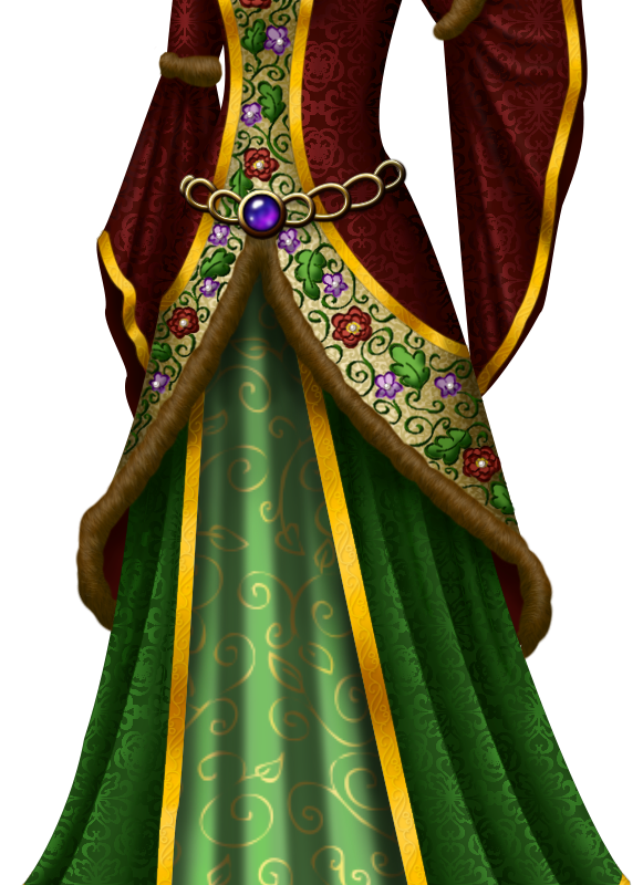 Red And Green Medieval Gown With Oak Rose And Violet