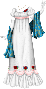 A white regency gown trimmed with white lace at the neck and sleeves. The sleeves are gently puffed and the bodice is ruched, trimmed on the right side with red roses and blue forget-me-nots. Under the bust is a pink ribbon sash decorated with a scroll pattern. The dress fabric is decorated with small embroidered white flowers, then at the edge of the skirt are pink swags, trimmed with lace, with pink hearts, red roses and blue forget-me-nots at the top of each swag. Intricate white embroidery surrounds the flowers. Under the swags are pleated frills that fan out to the ground and are trimmed with white lace. Long white gloves are attached to the outfit, and there is a blue wrap over the arms that is decorated with a shiny gold paisley pattern. At the neck is a thin gold chain and a pearl pendant.