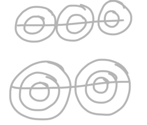 Three small circles and two large circles drawn on guidelines.