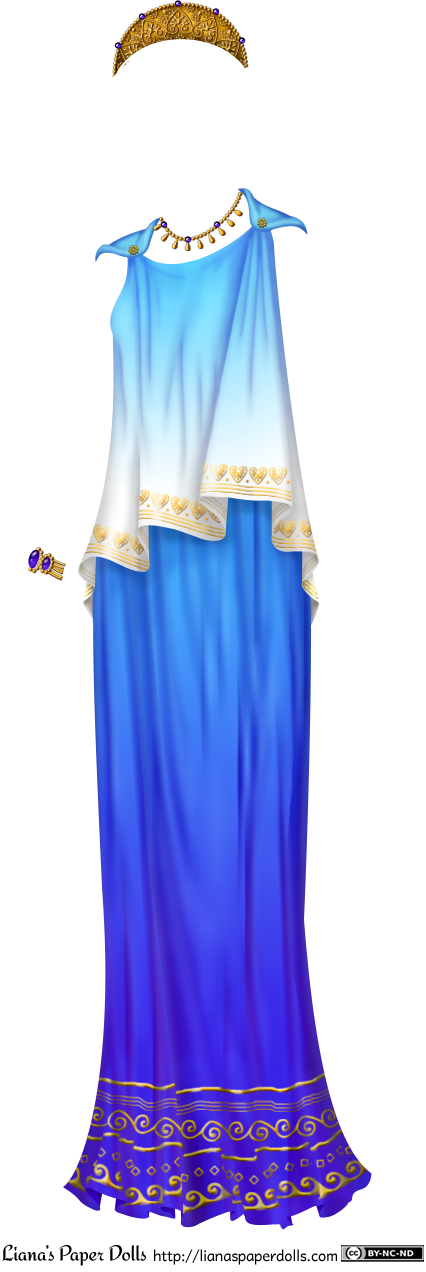 A blue peplos, which is a sleeveless draped garment held up with pins at the shoulders. The top is folded over and is light blue, fading to white at the hem at the waist. At the edge of the fabric is a gold heart and line pattern. Underneath is the skirt part, which is a rich blue, turning purple towards the hem. At the hem of the ankle-length skirt are gold line, wave and scroll patterns. There is a bracelet with two large purple stones, a gold necklace with purple stones and gold drops and a diadem with a heart pattern and purple gems.