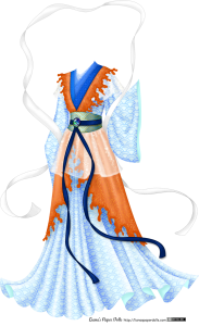 A blue gown with a stylized wave pattern in a darker shade of blue. There is a vest and overskirt with uneven, coral-like edges in shades of orange and coral with a golden scaly pattern all over it. The vest forms a large V over the top and is held in place by a wide belt in an aqua and teal wave pattern with gold accents. There is a thin dark blue ribbon tied around the belt. It is held in place with a brooch made of polished green and blue abalone, and the two ends of the ribbon extend almost to the floor. Underneath the belt is a short overskirt in a semi-transparent white fabric with a subtle shimmer. The collar is formed by several overlapping robes in shades of blue, dark where it is in contact with the vest and progressively lighter until it reaches the neck. The sleeves are wide and bell-shaped, and at the shoulders there is another layer of the shimmery semi-transparent white fabric. There is a wide white ribbon that floats over the dress in a large circle and slips under the arms, its edges curling around the skirt.