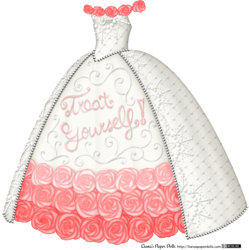 """A very light ivory ballgown with an almost exaggeratedly large, floor length skirt. It is off the shoulder, with a line of pink rosettes across the top. The bodice is fitted and decorated with a pattern of white lines and dots arranged into a sunburst shape, with a polka dot and grid pattern covering the background. Both patterns are shaded to look as if they're white frosting on a white cake. The waist is V-shaped and is edged with a line of small silver balls. The overskirt is open at the front, showing a large part of the underskirt. The top half of the underskirt has a pattern of delicate white scrolls and the words """"Treat Yourself!"""" written in loopy cursive in pink frosting. The bottom half consists of three large rows of rosettes, designed to look like they were made out of icing. The top rosette row is very pale pink, the second is a shade darker and the third is even more darker, creating an ombre effect. The overskirt is edged with lines of small silver balls and is decorated with sunburst-shaped patterns of lines and dots going up the front sides and a polka dot and grid pattern covering the background."""
