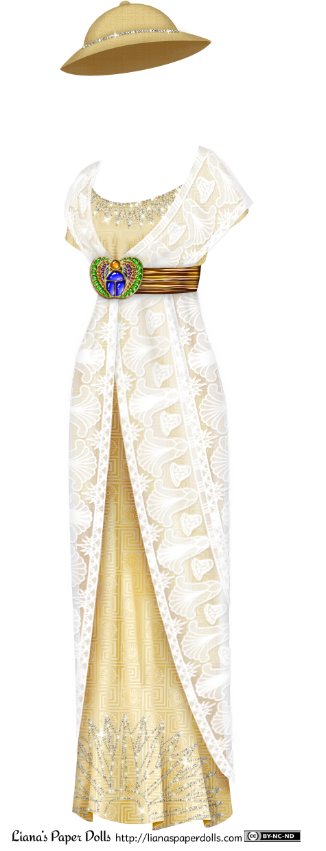 A 1912-style gown. The underdress is a sandy golden yellow color, with an Egyptian geometrical pattern on the fabric. It has a shallow scoop neck, short sleeves and a long, tube-shaped skirt that falls to the floor. It is gathered slightly above the waist with a wide gold sash, decorated at the front with a large brooch depicting a jeweled blue scarab holding an orange sun and adorned on both sides with a multi-colored wing pattern. At the bodice and at the hem are an Egyptian fan pattern done in small rhinestones. Over this is an overdress made of white lace patterned with Egyptian geometrical patterns and lotuses. The overdress is like a shawl over the bodice, opening at the front to show the fan pattern at the neckline, and going under the belt. It covers most of the underskirt, and opens in the front to show the fan pattern and the drape of the underskirt. There is a pith helmet to go with it, which is about the same color as the dress, but slightly darker and with a more utilitarian texture. Around the crown of the hat is a line of rhinestones.