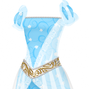 The top part of a blue gown with a delicate darker blue vine and white flower pattern and puffed sleeves. There are a line of pearls at the neckline and a wide gold belt with pearls.
