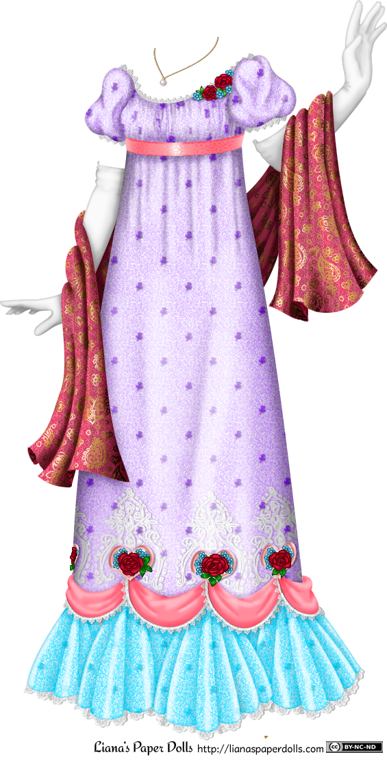 A lavender regency gown trimmed with white lace at the neck and sleeves. The sleeves are gently puffed and the bodice is ruched, trimmed on the right side with red roses and blue forget-me-nots. Under the bust is a pink ribbon sash decorated with a scroll pattern. The dress fabric is decorated with small embroidered white flowers, then at the edge of the skirt are pink swags, trimmed with lace, with pink hearts, red roses and blue forget-me-nots at the top of each swag. Intricate white embroidery surrounds the flowers. Under the swags are pleated turquoise frills that fan out to the ground and are trimmed with white lace. Long white gloves are attached to the outfit, and there is a pink wrap over the arms that is decorated with a shiny gold paisley pattern. At the neck is a thin gold chain and a pearl pendant.