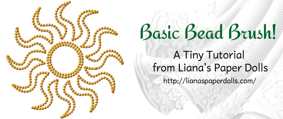 """An image reading """"Basic Bead Brush! A Tiny Tutorial from Liana's Paper Dolls, https://lianaspaperdolls.com. There is an image of a stylized sun with wavy rays radiating from the center, which looks like it's been done in small golden beads."""