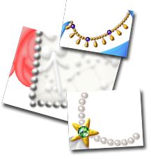 Three examples of this bead technique: a beaded golden necklace, an edging of silver beads and a garland of pearls.