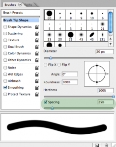 The Photoshop CS2 brush settings window, with the spacing field highlighted.