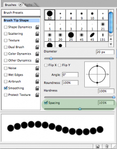 The Brush settings screen with the spacing increased, creating a dotted line.