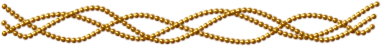 Three strands of small gold beads winding around each other.