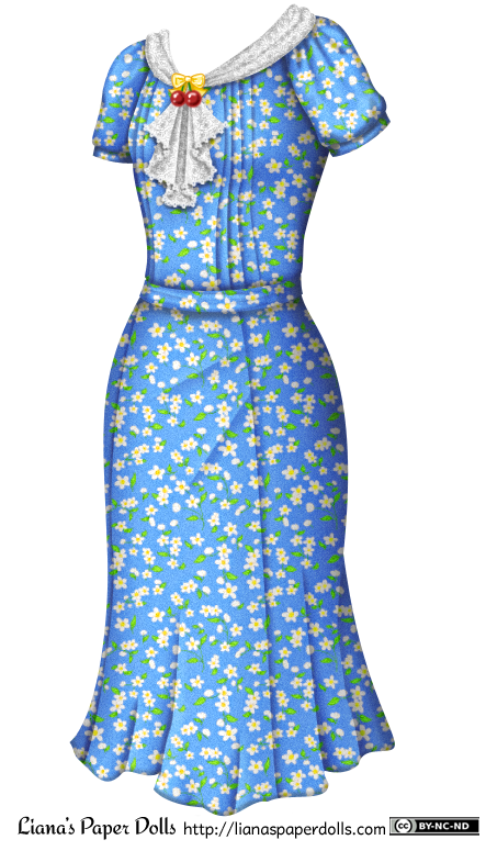 A 1930s-style blue dress with a small pattern of white flowers and green leaves. The neckline is decorated with a white lace scarf pinned with a plastic brooch in the shape of a yellow bow over a pair of red cherries. The scarf falls in a lace-edged ruffle down the front of the dress. The sleeves are slightly puffed, and there are rows of pintucks down the front of the bodice to each side of the ruffle. It's belted at the waist with the same kind of fabric. The skirt is just past knee length and is slightly flared at the base.
