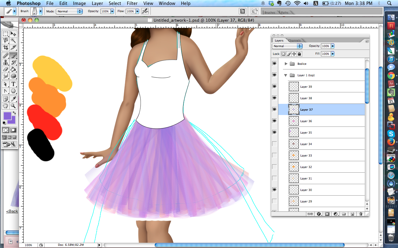 A rudimentary tulle skirt over the doll in Photoshop. The tulle is pretty but too muddled.