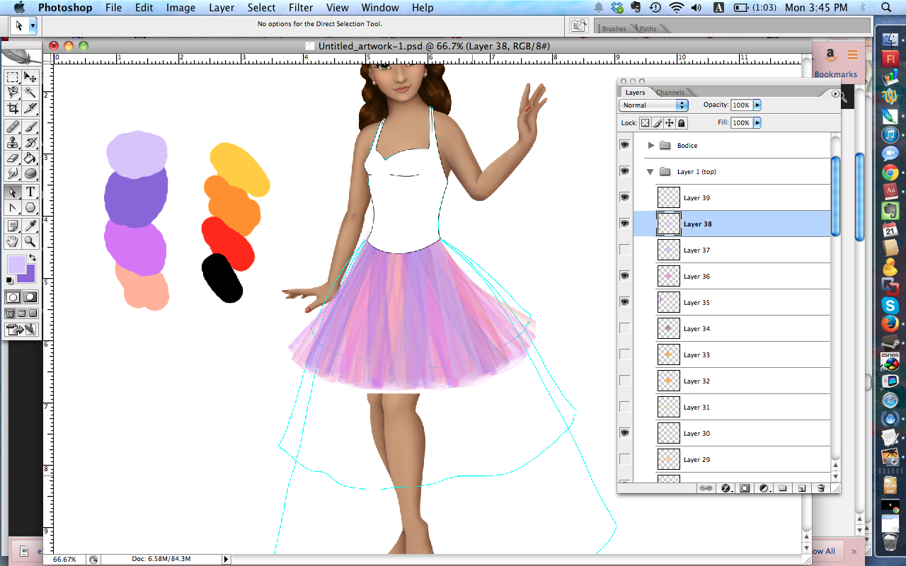 The same style skirt with some more coloring added.