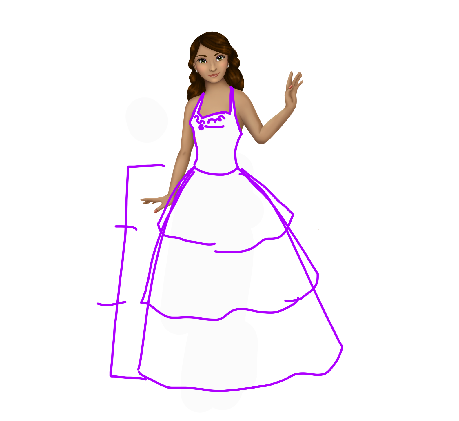 First large sketch of the dress.