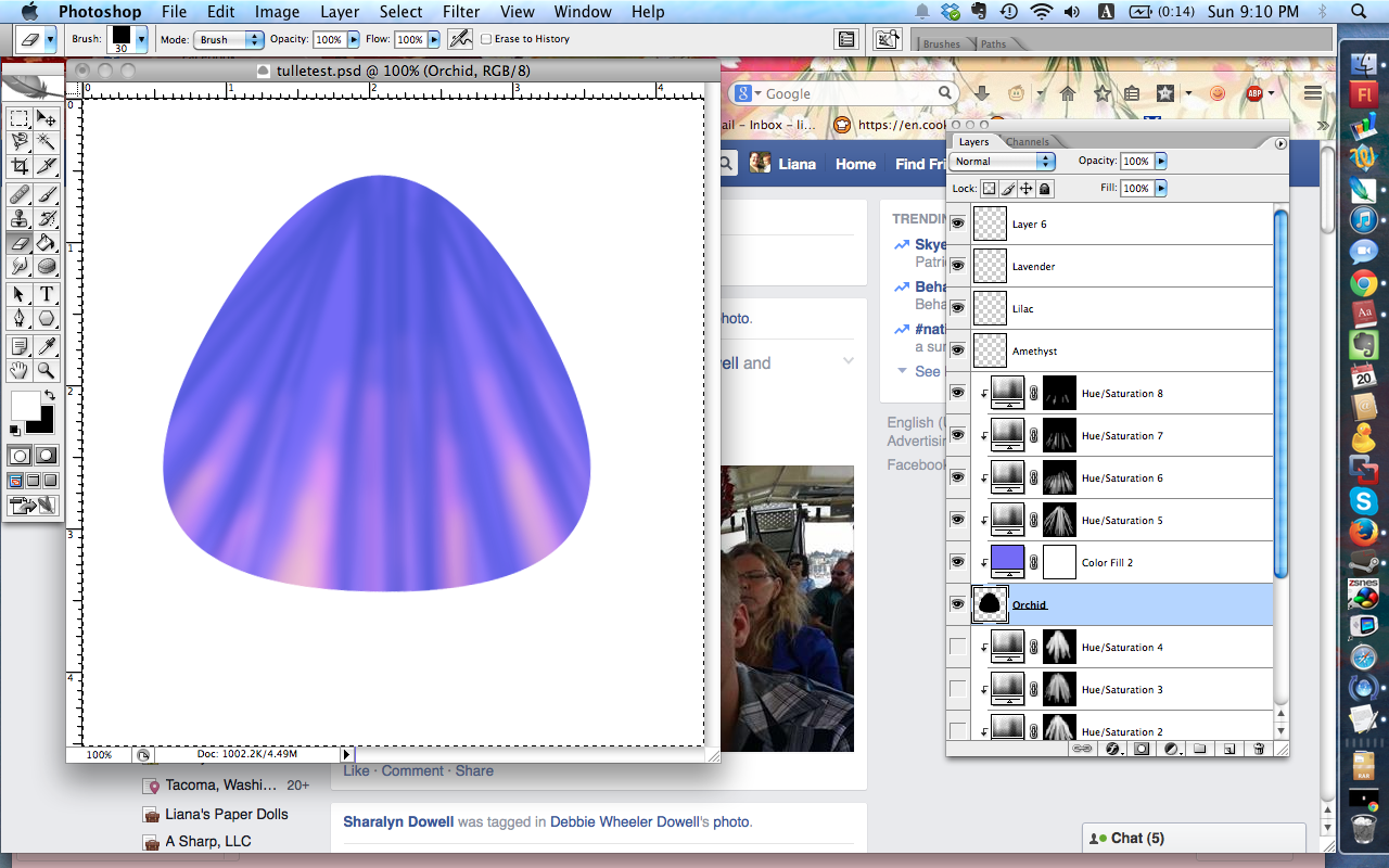 Another shot at coloring tulle; this one looks pretty but not tulle-like.