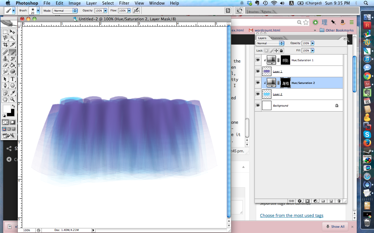 Another shot at tulle done with the brush. This one looks more textured but still light and layered.