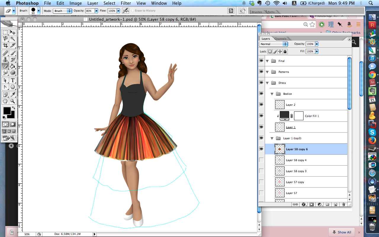 The dress in progress, with the first layer of tulle all done.