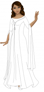 A black and white version of a gown with princess seams and lacing up the bodice. There's an under-layer that shows at the neck. The sleeves are three-quarter and there are long lengths of fabric that drape over the forearms and fall almost to the ground.