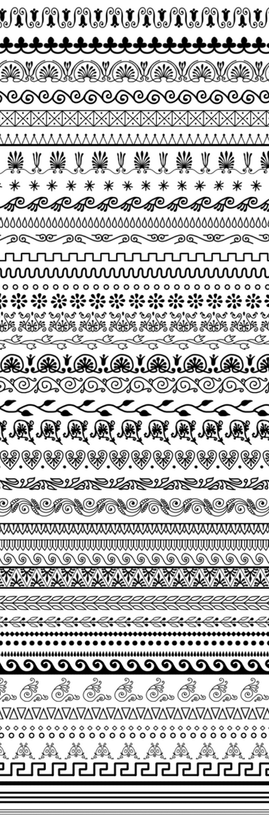 A set of several ancient Greek patterns made into Photoshop brushes.
