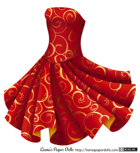 A strapless red dress with a tight bodice and a V-shaped waistline. The wide, knee-length circle skirt is flared out as if the wearer is spinning around. The whole dress is made of sleek, bright red fabric patterned with golden curls and dots, and the reverse side of the fabric, seen in a few folds at the edge of the skirt, is gold.