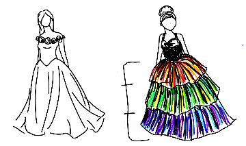 Sketches of two dresses, one a ballgown with flowers around the shoulders and one a small version of the dress attached to this post.