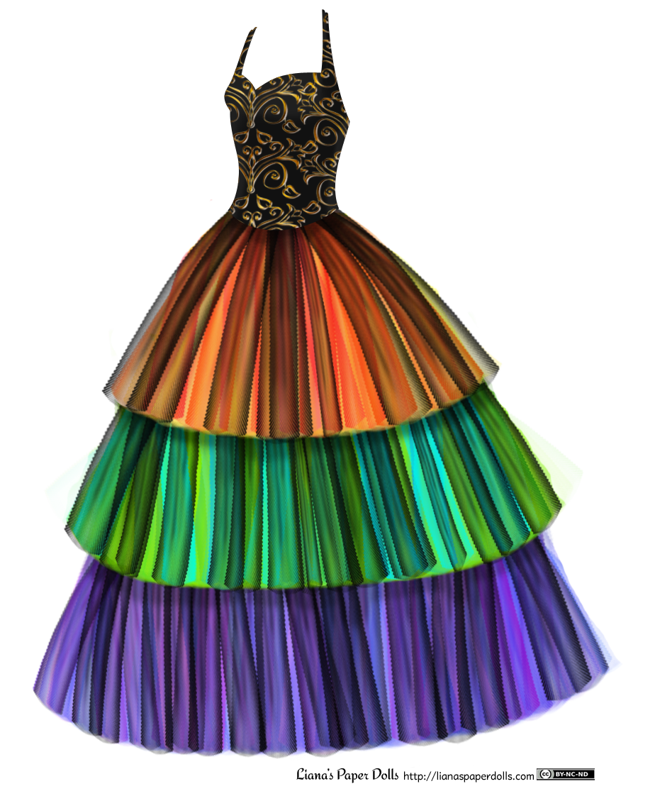 A ballgown with a halter-style black bodice and a floor-length, bell shaped skirt. The bodice is patterned with a metallic gold brocade. The gown is divided into three layers. The first one is shades of layered orange, yellow and red tulle under a light layer of black tulle, which the warm colors show through. The second layer is light green, dark green and light blue under a layer of black tulle. The third layer is dark blue, purple and magenta under a layer of black tulle.