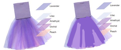 Two examples of layered tulle, one a picture with different shades of purple, and one with two major color areas blocked out as an example.