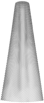 A Photoshop brush to make tulle. It looks like a tall triangle with a rounded top and base.
