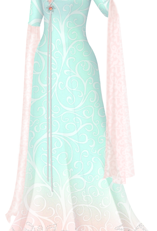 Aqua And Peach Elf Gown With Silver Beading Liana S