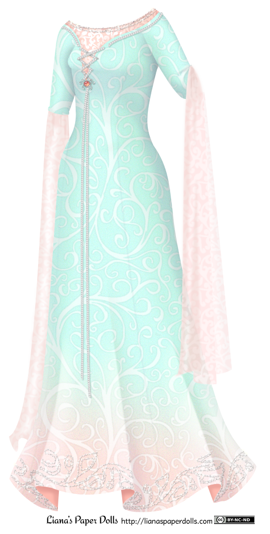 An aqua-colored gown with three-quarter sleeves and a low boat neckline. It has princess seams and is covered all over with a delicate scroll pattern. At the base of the skirt, the color changes to light peach, and there's a silver beaded vine pattern along the hem. There's an peach underdress that shows at the neckline, extending a few inches above the top of the gown. The light peach scroll pattern on it shimmers subtly, and there's a row of beading along the neckline. There's silver lacing along the collar of the aqua gown, and the dress is open over the bust, showing the underdress. The lacing crosses three times over the opening and is fastened under the bust with a brooch of silver and a coral-colored gem, then the laces hang down nearly to the bottom of the gown. The sleeves have long, delicate lengths of semi-transparent scroll-patterned peach fabric that hang down nearly to the base of the dress at each cuff.