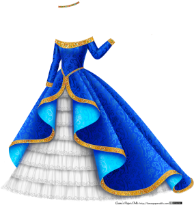 A royal blue satin ballgown draped in the front to show the light blue reverse side of the fabric and the full layered tulle underskirt. The gown is off-the-shoulders with long fitted sleeves, and there's a wide gold band at the collar with a scroll and heart pattern decorated with small red, green and blue gems. It has a V waist decorated with a gold band and gems, and the overskirt is edged with a gold band with a scroll and heart pattern and gems. The skirt is bell shaped and very wide, and the underskirt has several tiers of white tulle edged with flower lace. There's also a golden circlet decorated with red, green and blue gems.