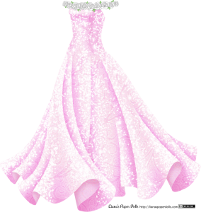 A sleeveless pink gown with a fitted bodice and a full skirt that flares out like a trumpet. There's a ring of white roses around the top of the bodice and the shoulders, dotted with small green leaves. The dress has a subtle scroll pattern and is very sparkly all over.