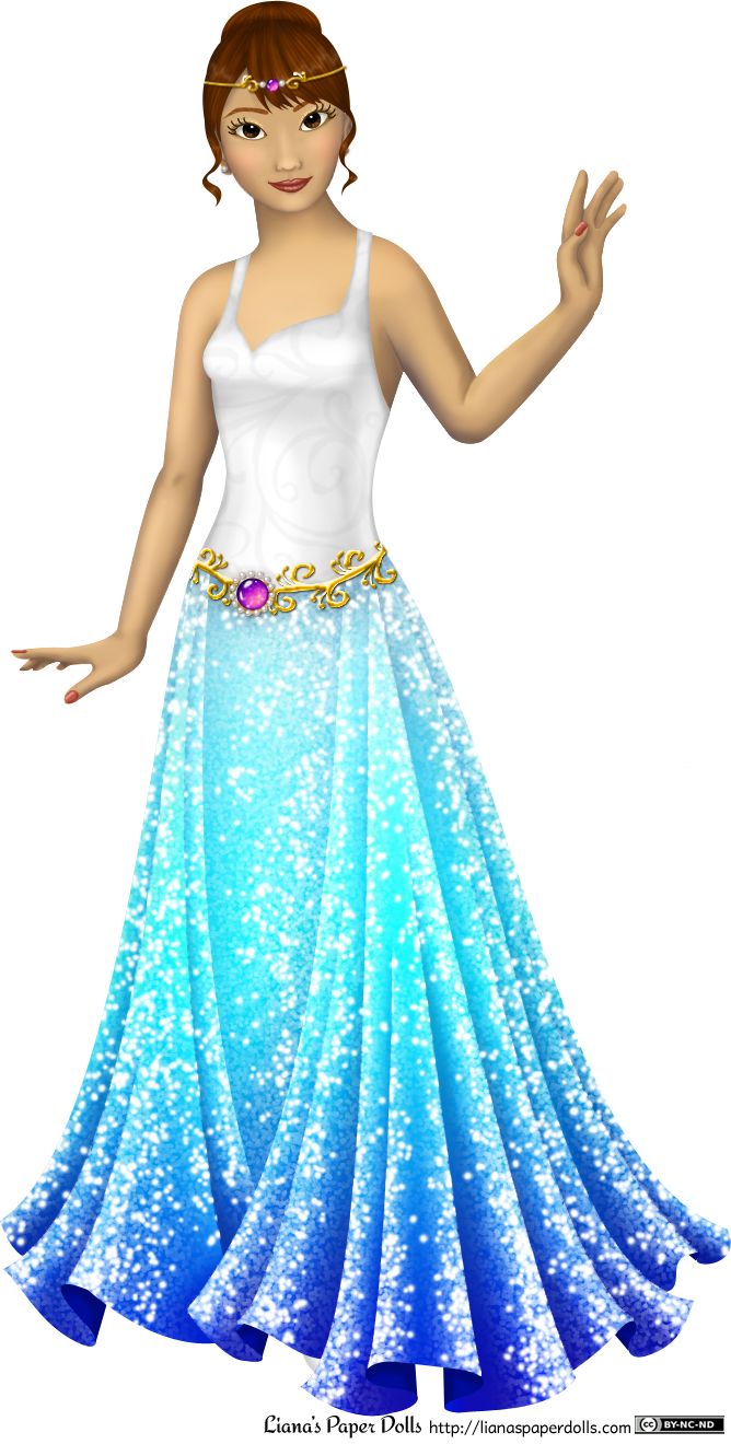 Emi, the new doll. She has light skin with yellow undertones, dark brown eyes and brown hair gathered up in a bun, with bangs and two curls around her ears. She is wearing a sleeveless gown with a sweetheart neckline. The bodice is white satin with a subtle scroll pattern,  and the skirt is sparkly all over and starts off sky blue, then gradually turns into dark blue at the hem. It's gathered into folds at the hips, while the front of the dress appears flat. There's a golden belt with a scroll pattern, and at the center is a magenta gem surrounded by a ring of pearls. There's also a gold circlet decorated with a magenta gem and two pearls.