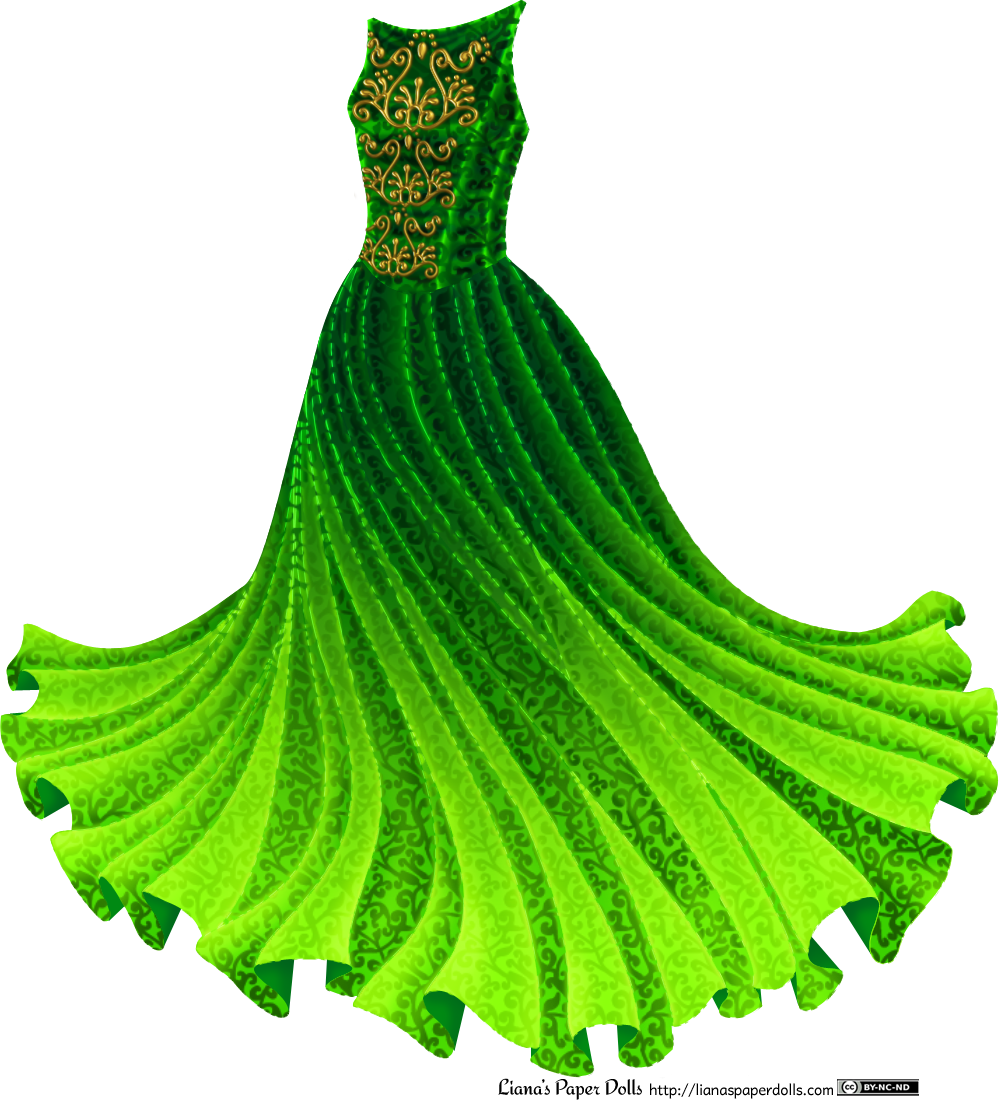 A gown with a sleeveless, boat-necked bodice and a very full, gathered skirt twirling out to the sides. The dress is green, darker at the top and turning lighter green towards the hem, and is covered with a dense scroll pattern in darker green. On the bodice is a golden scroll pattern from the neck to the waist.